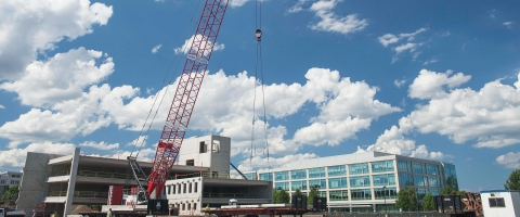 Crane during construction of garage