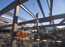 Iron workers framing Southern Garage 2015